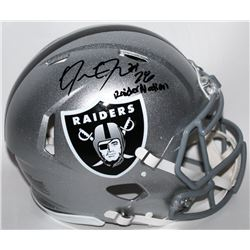 "Josh Jacobs Signed Oakland Raiders Full-Size Authentic On-Field Speed Helmet Inscribed ""RaiderNation"