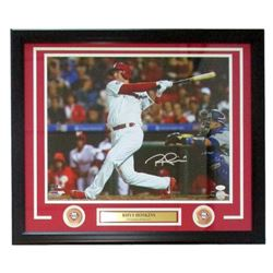 Rhys Hoskins Signed Philadelphia Phillies 22x27 Custom Framed Photo Display (JSA COA)