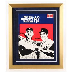 Vintage 1970's Budweiser 17x20 Custom Framed Stand-Up Counter Display with Roger Maris  Mickey Mantl