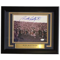 Rudy Ruettiger Signed Notre Dame Fighting Irish 11x14 Custom Framed Photo Display (JSA COA)