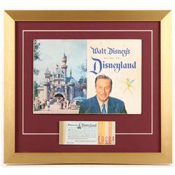 Disneyland 17x18.5 Custom Framed 1959 Guide Book Display with Ticket Booklet