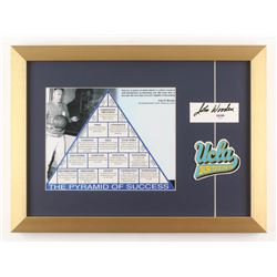 """John Wooden Signed """"The Pyramid of Success"""" 14x19 Custom Framed Cut Display with Patch (PSA COA)"""
