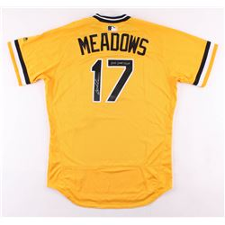 """Austin Meadows Signed Game-Used Pittsburgh Pirates Majestic Jersey Inscribed """"2018 Game Used"""" (Radtk"""