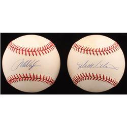 Lot of (2) ONL  OAL Baseballs Signed by Matt Williams  Mo Vaughn (Beckett COA)