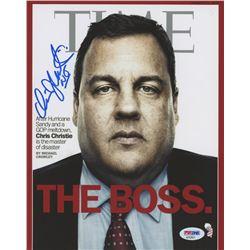 "Chris Christie Signed ""TIME"" 8x10 Cover Photo Inscribed ""NJ"" (PSA COA)"
