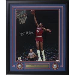 Julius Erving Signed Philadelphia 76ers 22x27 Custom Framed Photo Display (JSA COA)