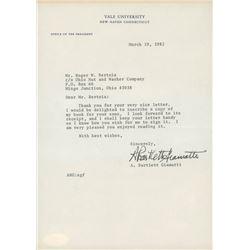 A. Bartlett Giamatti Signed 7x10 Typed Letter (JSA COA)