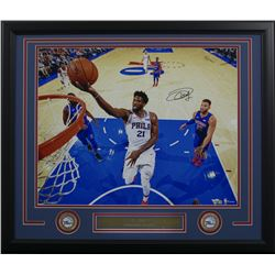 Joel Embiid Signed Philadelphia 76ers 22x27 Custom Framed Photo Display (Fanatics Hologram)
