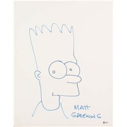 """Matt Groening Signed """"The Simpsons"""" Bart Simpson 16x20 Hand-Drawn Sketch on Stretched Canvas (Becket"""