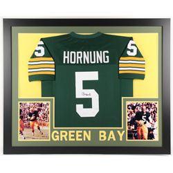 Paul Hornung Signed Green Bay Packers 35x43 Custom Framed Jersey (JSA COA)