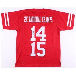 "Jerry Tagge Signed Nebraska Cornhuskers ""2X National Champs"" Jersey (JSA COA)"