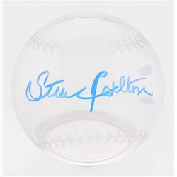 Steve Carlton Signed Lead Crystal Baseball (Beckett COA)
