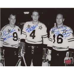 "Gordie Howe, Jean Beliveau,  Bobby Hull Signed NHL All-Star Game 8x10 Photo Inscribed ""Mr. Hockey"""