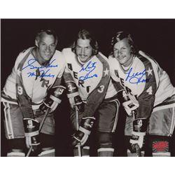 "Gordie Howe, Marty Howe,  Mark Howe Signed Houston Aeros 8x10 Photo Inscribed ""Mr. Hockey"" (Your Spo"