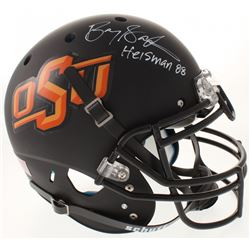 """Barry Sanders Signed Oklahoma State Cowboys Full-Size Authentic On-Field Helmet Inscribed """"Heisman 8"""