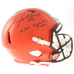 """Joe Thomas Signed Cleveland Browns Full-Size Speed Helmet Inscribed """"10,363 Consecutive Snaps"""" (Schw"""