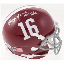 "Ozzie Newsome Signed Alabama Crimson Tide Mini Helmet Inscribed ""Roll Tide"" (Beckett COA)"