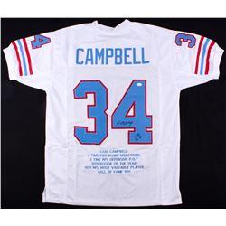 "Earl Campbell Signed Houston Oilers Career Highlight Stat Jersey Inscribed ""HOF 91"" (JSA COA)"