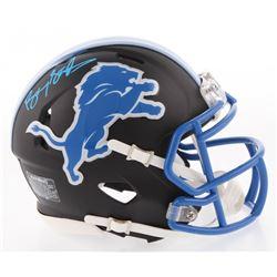 Barry Sanders Signed Detroit Lions Matte Black Speed Mini Helmet (Schwartz COA)