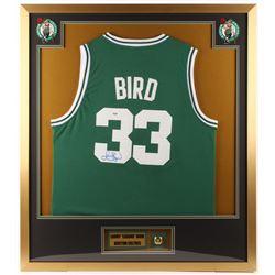 Larry Bird Signed Boston Celtics 32x36 Custom Framed Jersey with Replica Championship Ring (PSA COA)