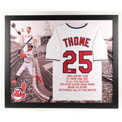 Jim Thome Signed Cleveland Indians LE 35.75x43.5 Custom Framed Career Hight Light Stat Jersey Displa