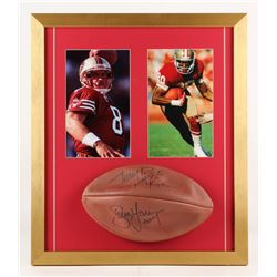 """Jerry Rice  Steve Young Signed San Francisco 49ers 19x22 Custom Framed Football Display nscribed """"S."""