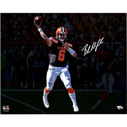"""Baker Mayfield Signed Cleveland Browns """"Throwing"""" 16x20 Photo (Fanatics Hologram)"""