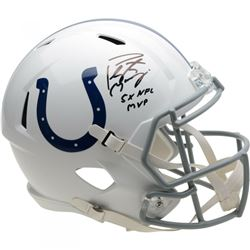 """Peyton Manning Signed Indianapolis Colts Full-Size Speed Helmet Inscribed """"5x NFL MVP"""" (Fanatics Hol"""
