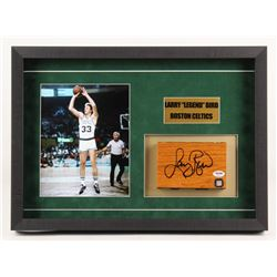"Larry Bird Signed Boston Celtics ""Boston Garden Parquet Floor Piece"" 14.5x20.5x2 Custom Shadow Box D"