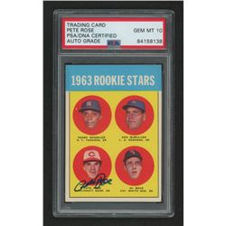 Pete Rose Signed 1963 Topps #537 Rookie Stars RC (PSA Encapsulated)