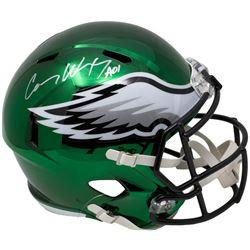 "Carson Wentz Signed Philadelphia Eagles Full-Size Chrome Speed Helmet Inscribed ""AO1"" (Fanatics Holo"