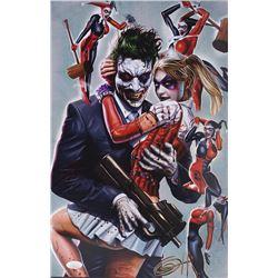 "Greg Horn Signed ""Harley Quinn  Joker"" 11x17 Lithograph (JSA COA)"