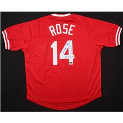 "Pete Rose Signed Cincinnati Reds Jersey Inscribed ""4256""  ""Hit King"" (Radtke COA)"