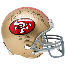 "Dwight Clark Signed San Francisco 49ers ""The Catch"" Full-Size Helmet with Hand-Drawn Play Inscribed"