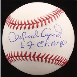 "Orlando Cepeda Signed OML Baseball Inscribed ""67 Champs"" (JSA COA)"
