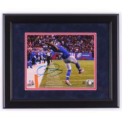 """Odell Beckham Jr. Signed New York Giants """"The Catch"""" 13.5x16.5 Custom Framed Photo (Steiner COA)"""