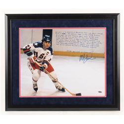 Mike Eruzione Signed Team USA 22x26 Custom Framed Photo with Extensive Inscription (Steiner COA)