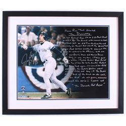 Jim Leyritz Signed New York Yankees 22x26 Custom Framed Photo Display with Extensive Story Inscripti