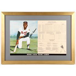 Hank Aaron Signed LE Milwaukee Braves 18.5x26 Custom Framed Career Highlight Stat Card (PSA COA)