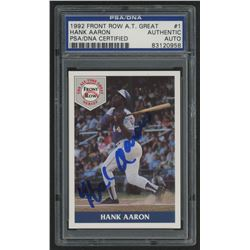 Hank Aaron Signed 1992 Front Row Aaron #1 / Blue Braves Uniform (PSA Encapsulated)