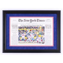 Lawrence Tynes Signed New York Giants 16.5x22 Custom Framed New York Times Cover (Steiner COA)