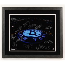 Brooklyn Nets 22x26 Custom Framed Photo Signed By (13) with Tyshawn Taylor, Andrei Kirilenko, Andray