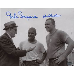 Gale Sayers  Dick Butkus Signed Chicago Bears 8x10 Photo (Schwartz COA)