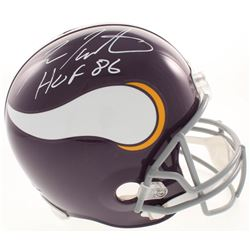 "Fran Tarkenton Signed Minnesota Vikings Full-Size Throwback Helmet Inscribed ""HOF 86"" (JSA COA)"
