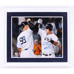 "Tyler Austin Signed New York Yankees 22x26 Custom Framed Photo Inscribed ""MLB Debut""  ""Back to Back"