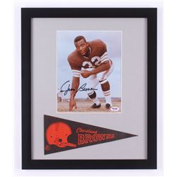 Jim Brown Signed Cleveland Browns 16x19 Custom Framed Photo Display with Pennant (PSA COA)