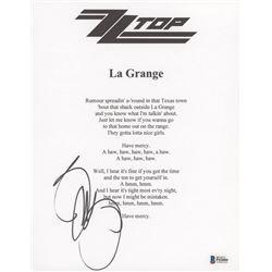 "Billy Gibbons Signed ""ZZ Top: La Grange"" 8.5x11 Lyric Sheet (Beckett Hologram)"