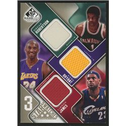 2009-10 SP Game Used 3 Star Swatches 125 #3SBMJ Kobe Bryant / LeBron James / Oscar Robertson