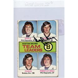 Bobby Orr Signed 1975-76 Topps #314 Bruins Leaders (JSA Hologram)