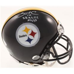 "Santonio Holmes Signed Pittsburgh Steelers Mini Helmet Inscribed ""SBXLIII MVP"" (JSA COA)"